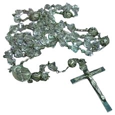 Hand Cut Rock Crystal Catholic Rosary Marked Sterling Silver 925 Sacred Heart
