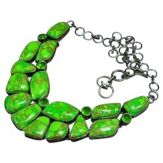 Gaspeite Peridot Sterling Silver Link Draping Bib Chunky Necklace
