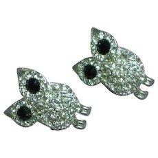 Rhinestone Encrusted Owl Bird Figural Vintage Pierced Earrings
