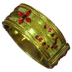 Ravaging Red Rhinestones with Applied Scroll Design Mesh Hinged Large Clamper Bracelet