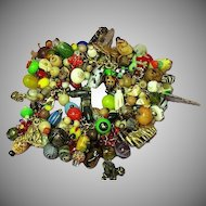 Trade Beads Vintage Gold tone Animals Skulls Jungle Charm Bracelet