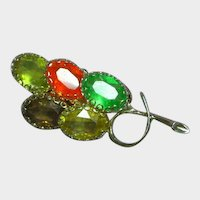 Large Stunning Colorful Rhinestone Flower Bow Pin Brooch