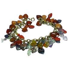 Gemstones Mixed Carved Hearts Gold Tone Charm Bracelet