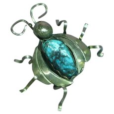 Native American Indian Turquoise Sterling Silver Bug Insect Hand Made Pin Brooch