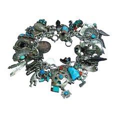 Ultimate! Most Magnificent Massive Native American Indian Sterling Silver Gemstones Charm Bracelet