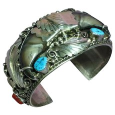 Native American Indian Navajo Sterling Silver Turquoise Coral Bear Claw Massive Old Pawn Signed Bracelet