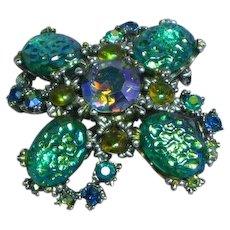 Rare STUNNING Signed HAR  Iridescent Aurora Borealis Vitrial A/B Rhinestone Art Glass Large Pin Brooch