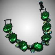 Regency Velvety Green Art Glass Cabochon Vitrail A/B Rhinestone Japanned Bracelet