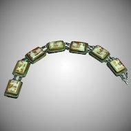 Italian 800 Silver Carved Cameo Seven Days Book Piece Bracelet