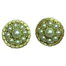 Kramer Marked Elegant Faux Pearl Brushed Gold Tone Clip Earrings