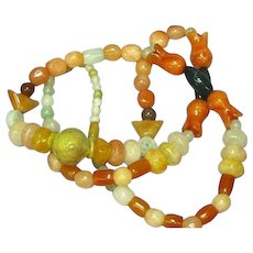 """Jade Mix Beads Carved Jade Bead Incredible Multi Color Mix Sizes 26"""" Necklace"""