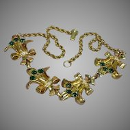 Art Deco RARE Vintage Clear Green Crystal Unsigned Beauty Necklace
