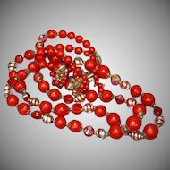 Vendome Vendôme Signed WoW Crystal Art Glass Red Necklace and Earrings Set Demi Parure