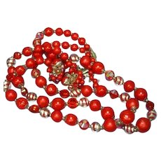 Vendome Vendôme Signed Crystal Art Glass Red Necklace Earrings Set