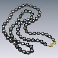 Tahitian Cultured Baroque  Black Pearls with 14K Yellow Gold Clasp Necklace