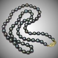 Tahitian Cultured Baroque Magnificent Black Pearls with 14K Yellow Gold Clasp Necklace
