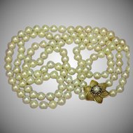 Pearls Double Strand Cultured Pearls Extravagant ! Sapphires 14k Yellow Gold Clasp Necklace