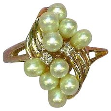 Akoya Cultured Pearl and Diamonds Magnificent Fine 14K Yellow Gold Cocktail Ring