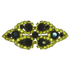 Black and Yellow Prong Set Rhinestones Double Layer Brooch Pin