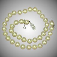 Majorica Majorca Simulated Pearl Hand Knotted Single Princess Strand Necklace