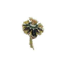 DeRosa Unsigned Beauty Estate 1940's Clear and Green Crystal Rhinestones Enamel Pin Brooch