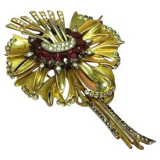 DeRosa, Reinad Unsigned Beauty 1940's Estate Clear Black Diamond Rhinestones and Red Crystal Figural Floral Pin Brooch.