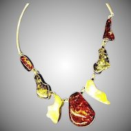 Amber Genuine Four Colors Big Solid Chunks Sterling Silver Breathtaking Large Necklace