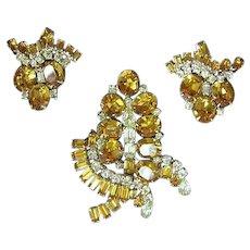 Kramer of New York  Signed Massive Golden Rhinestones Pin Brooch and Earrings Set Demi Parure