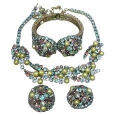 Hattie Carnegie Signed Rhinestones Pearl Necklace Clamper Bracelet Clip Earrings Parure