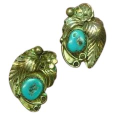 Native American Indian Sterling Silver Hand Crafted Turquoise Clip Earrings