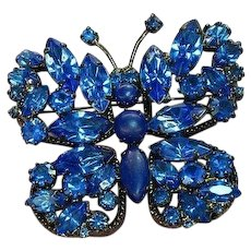 Japanned Black Metal Blue Rhinestone Butterfly Pin Brooch