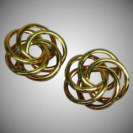 Napier Signed Gold tone Pair Lovers Knot Set (2) Pin Brooch