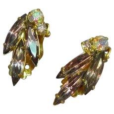 Juliana D&E DeLizza Elster Purple and A/B Rhinestone Estate Clip Earrings