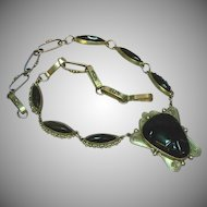 "Mexican Mexico Taxco .925 Silver Onyx 19"" Link Necklace"