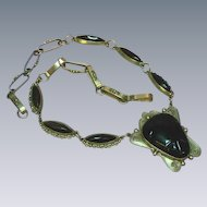 Mexican Mexico Taxco Sterling Silver Onyx  Link Necklace