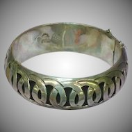Mexican Mexico Vintage Hecho Taxco Sterling Silver Hinged Shadow Box Bangle Bracelet