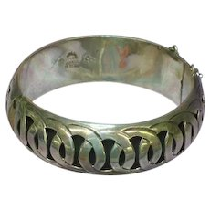 Mexico Vintage Hecho Taxco Sterling Silver Hinged Shadow Box Bangle Bracelet