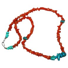 Native American Indian Turquoise Nugget and Natural Red Coral Necklace