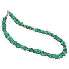 Native American Indian Beautiful, Blue, Green Sea Foam Turquoise Chunks Necklace