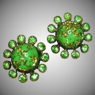 Art Glass Foiled Rhinestones Green Large Clip Earrings