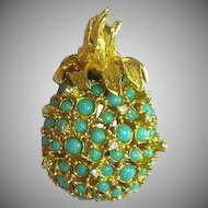 Alice Caviness Rhinestones Faux Turquoise Pineapple Pin Brooch
