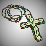 African Hand Made Trade Beads Long Ethnic Cross Primitive Necklace