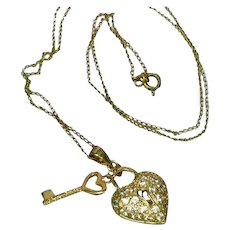 Rhinestones Sweetheart Lock and Key Vermeil Gold Filled Necklace