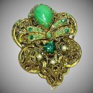 West Germany Green Art Glass Rhinestone Elaborate Filigree Pendant Brooch Pin