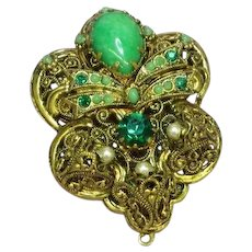West Germany Green Art Glass Rhinestone Elaborate Filigree Pendant Brooch Pin