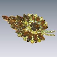 Juliana D&E Topaz  Leaf A/B Rhinestones Large Brooch Pin