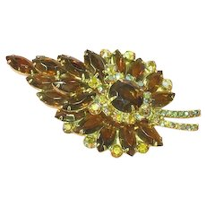 Juliana D&E Topaz  Leaf A/B Rhinestones Large Brooch Pin