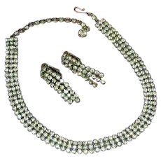 Sherman Signed Vintage Swarovski Crystals Rhinestones Necklace and Earrings Demi Parure