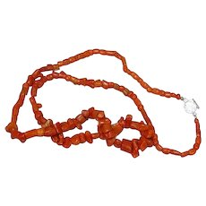 Coral Single Strand Museum Quality Red Mediterranean Coral with Ornate Clasp Necklace