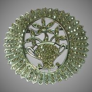Sterling Silver Marcasite Art Deco Floral Round Pin Brooch